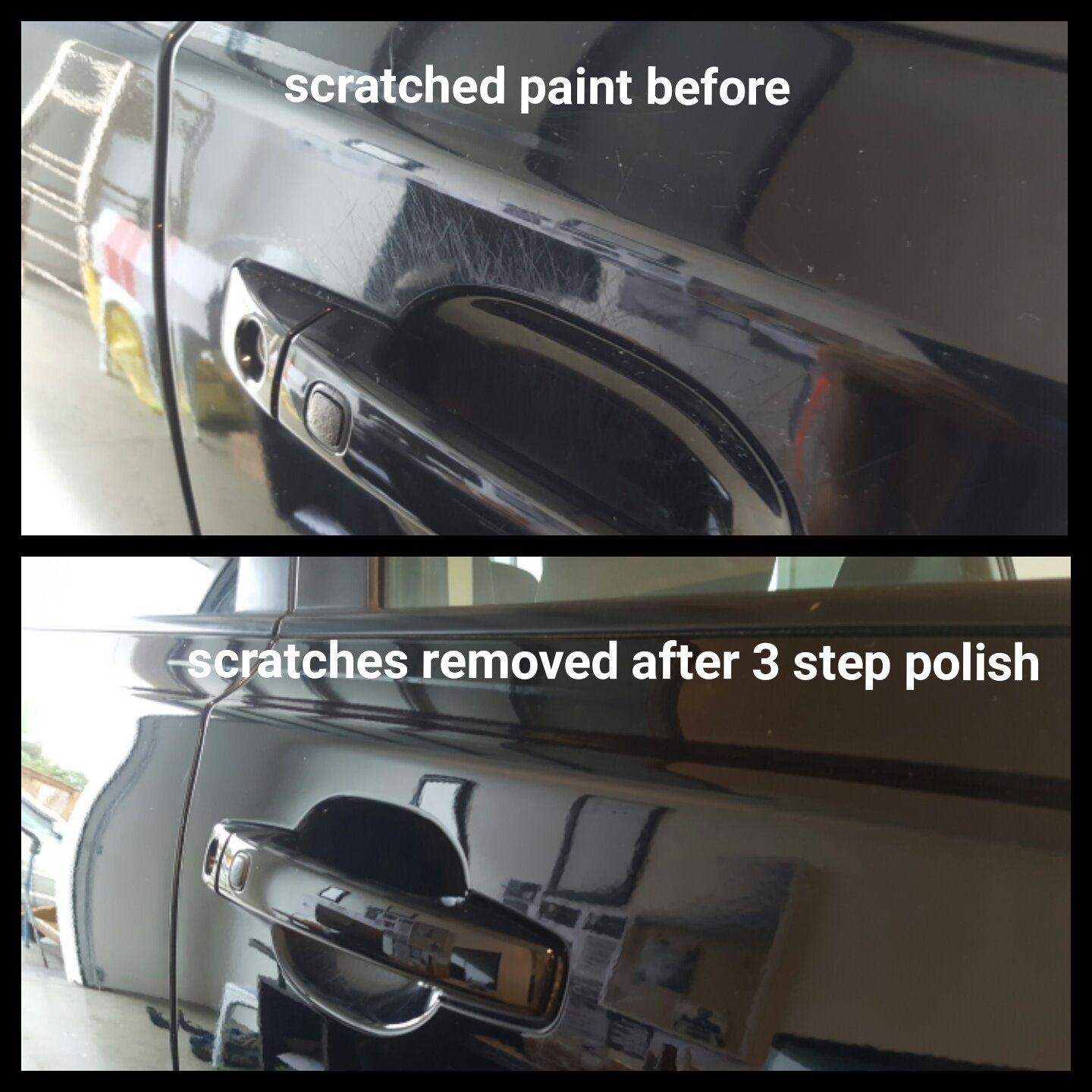 Door handle scratches removed cut and polish