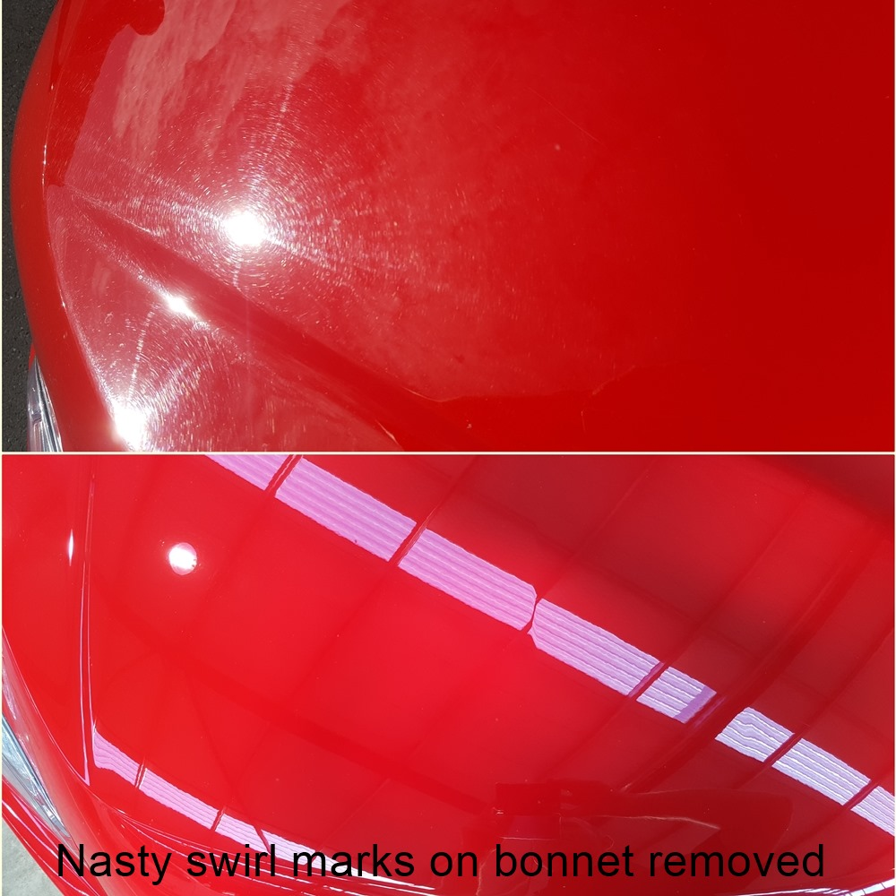 Red car bonnet before and after cut and polish