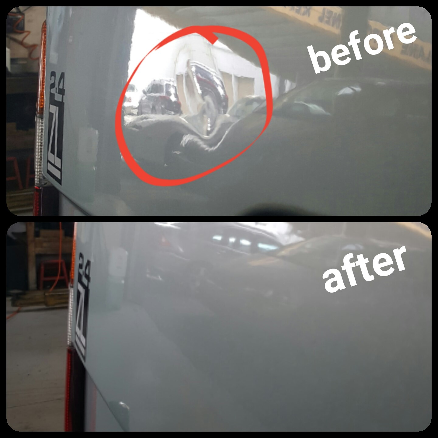 Paintless dent removal on van door