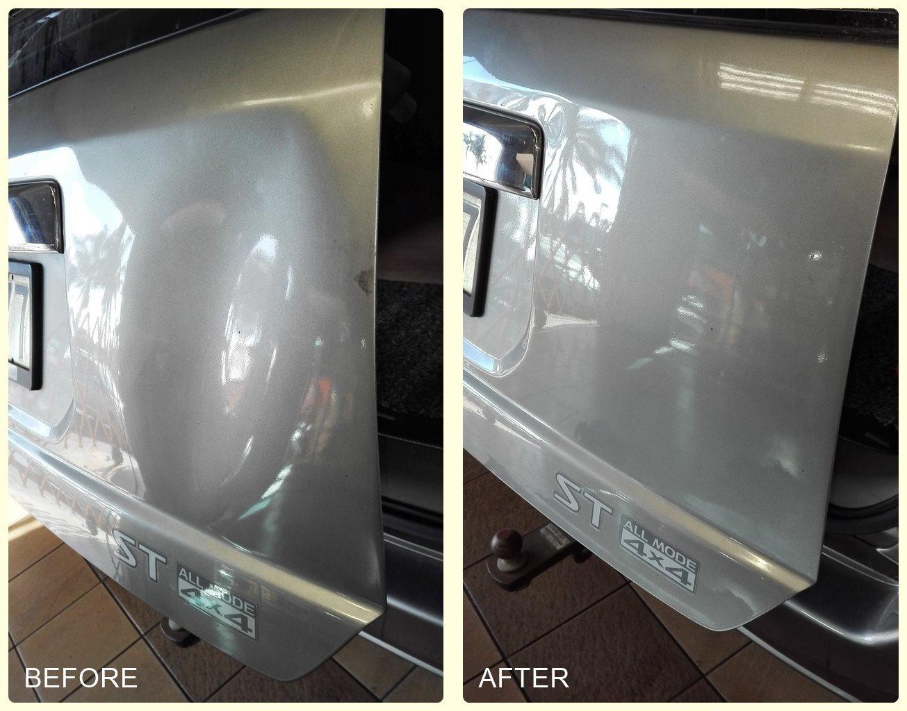 Dent removed in rear van door